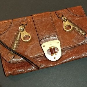Alexander McQueen Brown Leather Clutch